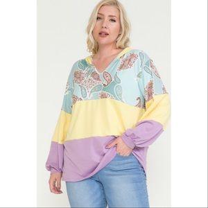 Jessie Color Block & Paisley Hoodie Lavender Sun☀️
